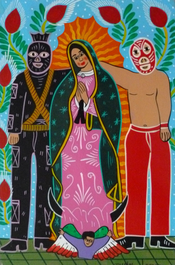 Mexican Liberation theology with Our Lady of Guadalupe and guests