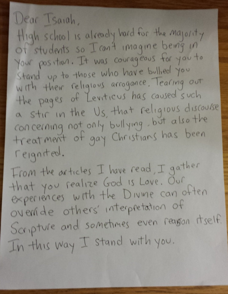 open letter to Isaiah Smith page one
