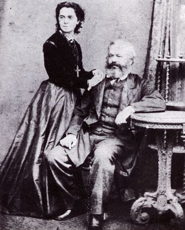 A portrait of Jenny and Karl Marx.